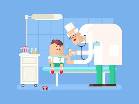 Doctor doing child vaccination. Syringe medical, medicine injection, patient kid, vector illustration