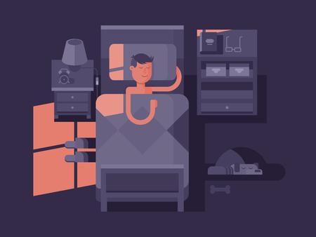 Man slapen in bed. Droom 's nachts, slaapkamer interieur, vector illustratie