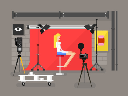 Photo studio interior with model. Fashion photography, equipment camera and lamp, vector illustration
