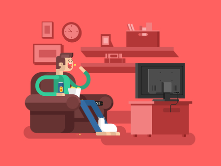 telecast: Man watching TV. Television and leisure, sofa indoor, movie and film, vector illustration