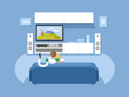 watching: Interior home cinema. House furniture, movie and tv, screen and audio stereo, vector illustration