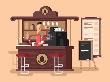 커피 숍 인테리어. 카페 레스토랑, 컵 에스프레소, 의자 및 카페인, 벡터 일러스트 레이션