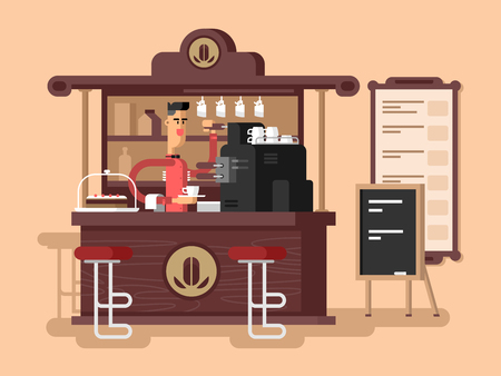 cafe shop: Coffee shop interior. Cafe restaurant, cup espresso, chair and caffeine, vector illustration