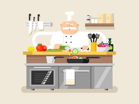Cook character man. Chef profession cartoon in hat, vector illustration Vettoriali