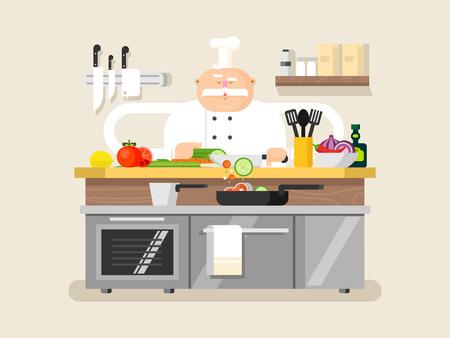 cocina caricatura: Hombre del carácter cocinero. Profesión cocinero de la historieta en el sombrero, ilustración vectorial
