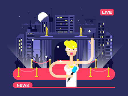 live action: Live news reporter. Microphone and broadcasting, television communication, correspondent vector illustration