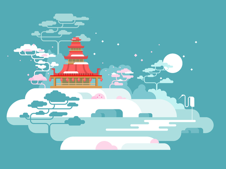 chinese pagoda: China painted landscape. Asia nature, traditional culture design, vector illustration