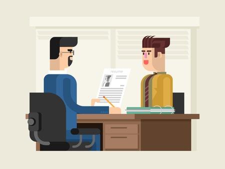 cuadro sinoptico: entrevista de trabajo diseño plano. negocio del empleado, contratación y empleo, la hoja de vida y su carrera, ilustración vectorial