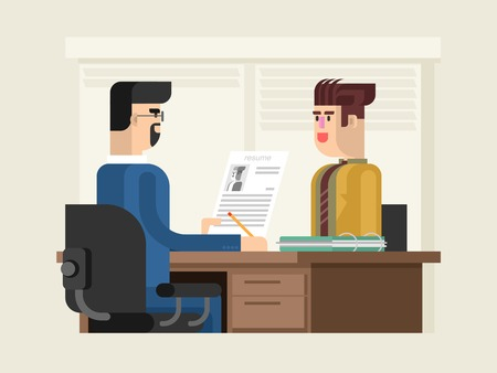 Job interview flat design. Employee business, recruitment and employment, resume and career, vector illustration Stock Illustratie