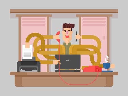 tasking: Man office worker multitasking. Businessman busy, job stress, vector illustration