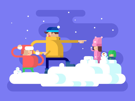 nene y nena: Los ni�os que juegan bolas de nieve. De nieve en invierno al aire libre, la infancia y feliz, mu�eco de nieve y la muchacha juegan con el ni�o, ilustraci�n vectorial Vectores