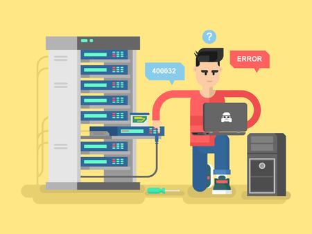 IT Specialist réseau. ordinateur technologie, l'information et électronique, ingénieur système de réparation, illustration vectorielle Vecteurs