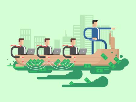 corporate team: Leader company business ship. People team corporate, businessman teamwork, vector illustration