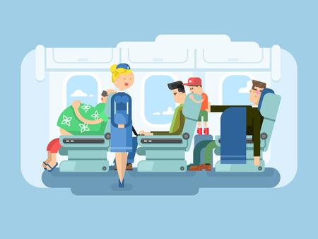 flight steward: Interior of plane flat design. Transportation passenger, transport vector illustration