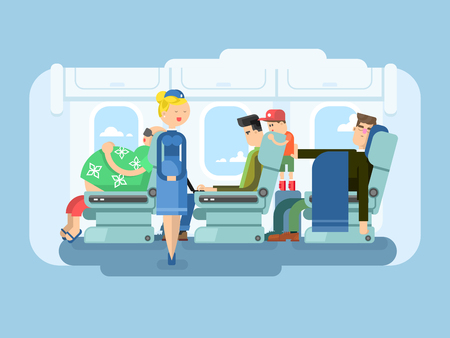 Interior of plane flat design. Transportation passenger, transport vector illustration