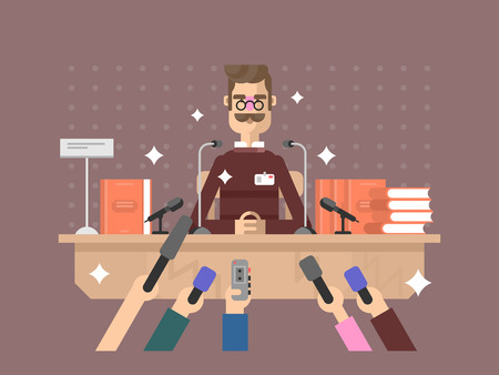 to interview: Press conference man. Microphone media, news speech, event politician, vector illustration