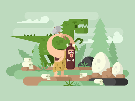 prehistoric man: Primitive man with dinosaur. Caveman cartoon, prehistoric animal, neanderthal vector illustration Illustration