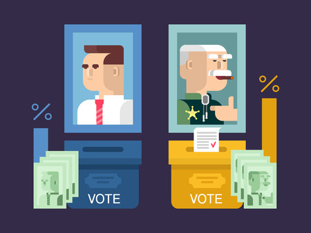 politic: Concept elections design flat. Government and candidate, voting political, politic and democracy, vector illustration