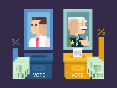 Concept verkiezingen ontwerpen plat. Overheid en kandidaat, stemming politiek, politiek en democratie, vector illustratie Vector Illustratie