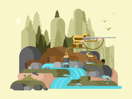 wildlife shooting: Hunter bear character. Cartoon animal, wild nature, wildlife drawing mammal predator, vector illustration