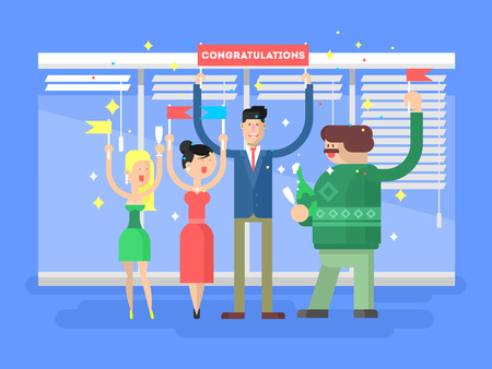congratulate: Congratulations group people. Happy woman man, cheerful congratulate vector illustration
