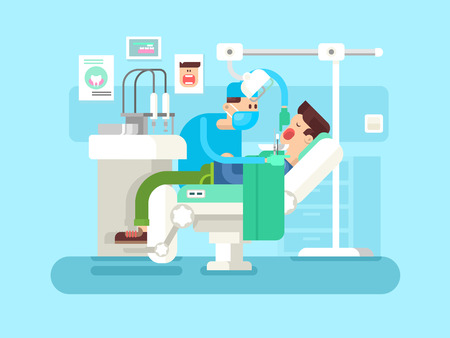 treats: Dentist treats a patient. Treatment dental, clinic medicine, health and hygiene, doctor professional vector illustration