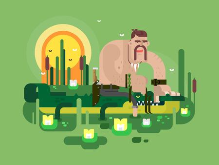 cartoon crocodile: Crocodile hunter character. Dangerous animal, wildlife nature predator, vector illustration