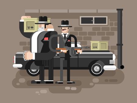 hitman: Mafia man character. Gangster crime, criminal people, killer with gun, vector illustration