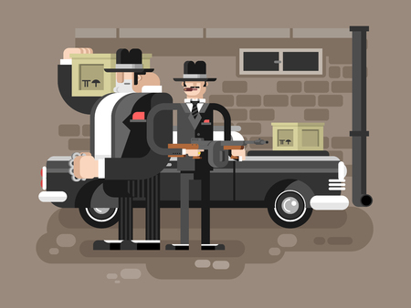 Mafia man character. Gangster crime, criminal people, killer with gun, vector illustration
