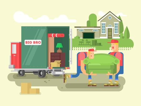 Mover plana de diseño. Salida del rectángulo, el transporte de cartón, camiones y el transporte marítimo, ilustración vectorial