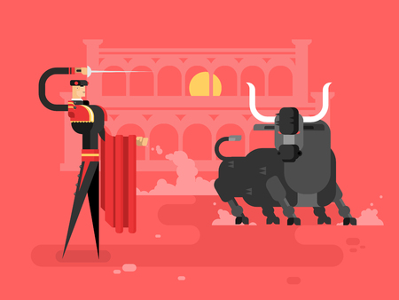 spanish bull: Bullfighting charcter man. Spain toreador, spanish tradition, entertainment and costume, picador performance, vector illustration