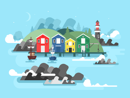 quay: Port sea or ocean harbour. Ship on water, boat and shipping, transport vessel, vector illustration
