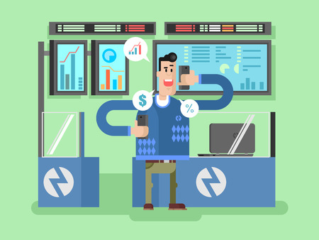 to invest: Stocks broker character. Broker finance, businessman and chart, vector illustration Illustration