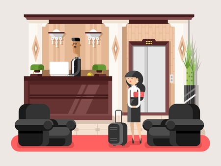 Lobby hall hotel. Interior room, indoor reception service, tourist waiting illustration