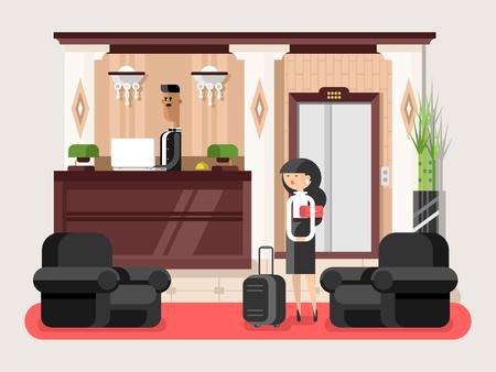 albergo: Lobby hall hotel. sala interna, servizio di reception coperta, illustrazione in attesa turistico