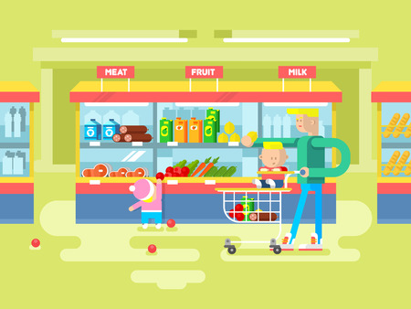 purchase: Supermarket design flat. Shop and store, sale retail purchase, vector illustration Illustration