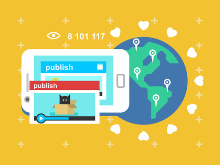 publish: Share video publish. Web media, digital social network, communication and multimedia promotion, vector illustration
