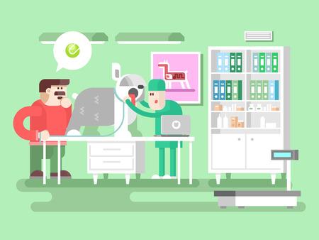 visitador medico: Veterinaria visitante clínica y el médico. Animal de compañía, la salud y la medicina, doctor en medicina, perro cuidado, ilustración vectorial