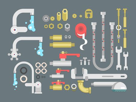 tube wrench: Set plumbing parts. Tube and pipe for water, metal construction, vector illustration