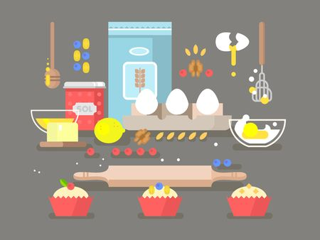 food preparation: Preparation of baking ingredients. Cupcake food, flour and cooking, bakery pastry. Vector illustration