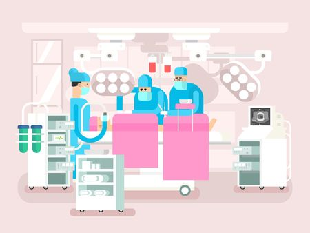 Operating room design. Operation surgery, medical and patient, hospital or clinic, vector illustration Illustration