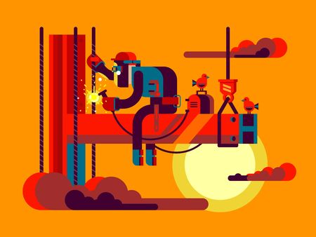 industrial construction: Welder climber character. Worker metal, construction steel, industrial job, craftsman vector illustration