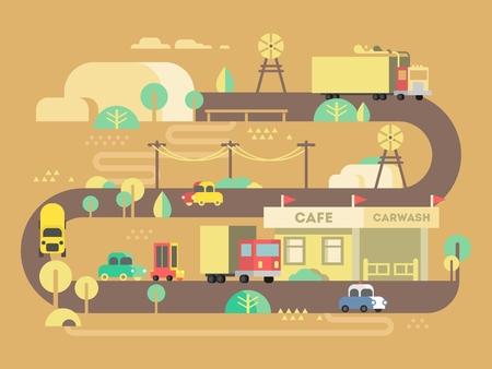 lavar: Carretera plana cafeter�a de dise�o. viajes restaurante, viaje al aire libre y desayuno, edificio de barras. ilustraci�n vectorial