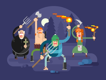 People with torches and pitchforks. Anger character, fire torch, angry and fury, protest villager, vector illustration
