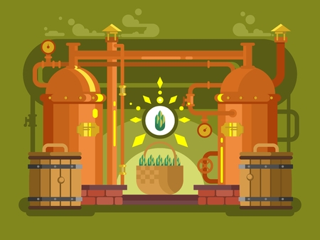 factory automation: Brewery beer design flat. Alcohol beverage, lager drink, brew vector illustration