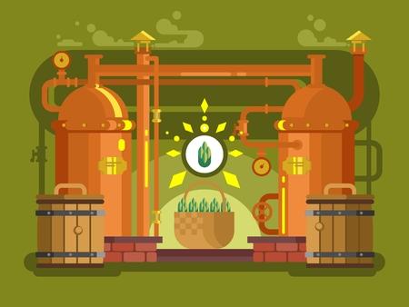 brew: Brewery beer design flat. Alcohol beverage, lager drink, brew vector illustration