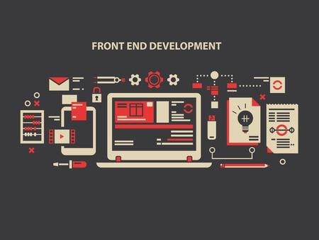 Front i rozwój. Programowanie WWW, internet komputerowy, projektowanie danych i oprogramowania, ilustracja wektorowa Ilustracje wektorowe