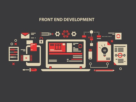 Front and development. Web programming, computer internet, data and software design, vector illustration