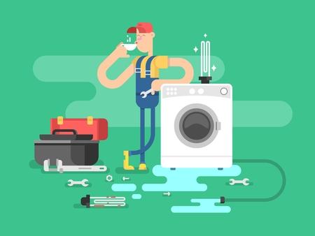 Reparación de lavadoras. Servicio de mantenimiento, hombre del trabajador, ilustración vectorial mecánico