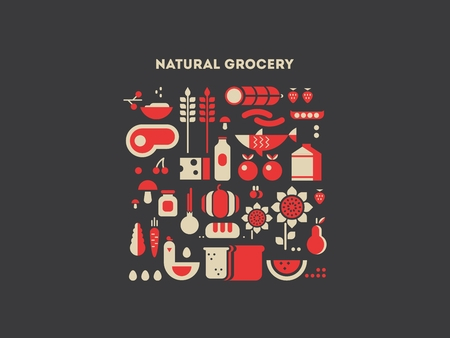 food ingredient: Natural grocery food. Vegetable natural, healthy fresh fruit, organic ingredient, vector illustration Illustration